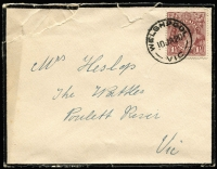 Lot 2449:Welshpool (2): WWW #30 'WELSHPOOL/10JA20/VIC' on 1½d brown KGV on mourning cover (roughly opened).  PO 1/2/1886; LPO 1/7/1993.