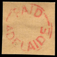 Lot 6855:Adelaide: worn strike of framed 'PAID/ADELAIDE' (date slugs removed) in red.